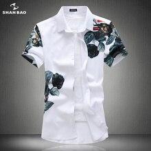 Бренд SHANBAO, оригинальная Мужская Повседневная рубашка с короткими рукавами и принтом в виде роз, летняя новая модная черная белая рубашка