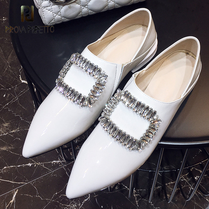 Prova Perfetto New Style Women Shoes Rhinestone Mules Shoes Woman Genuine Leather Pointed Toe Shoes Slip on Flat Casual Shoes new 2017 spring summer women flats shoes genuine leather flat heel pointed toe black red shoes woman slip on casual flat shoes