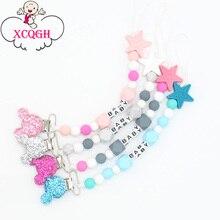 XCQGH персонализированное имя силиконовая детская соска зажимы цепь соска цепь с держателем мыши для ребенка, подарок для ребенка