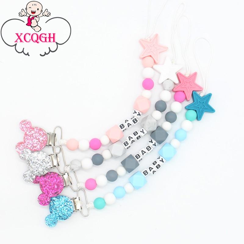 XCQGH Personalisierte Name Silikon Baby Schnuller Clips Kette Nippel Schnuller Kette mit Maus Halter für Baby, Baby Dusche Geschenk