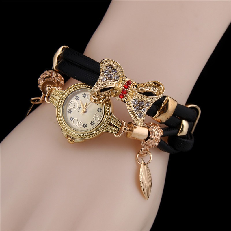 Minhin Butterfly Retro Bracelet Watches Women Lovely Wedding Quartz Wrist Watches 6 Colors Rhinestone Delicate Female Watches #5