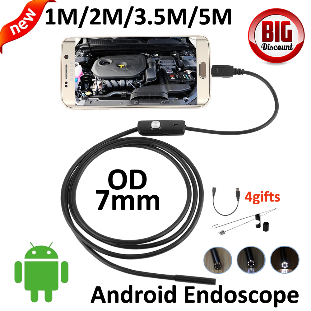 OD 7mm lens OTG Micro USB Android Endoscope Camera 5M 3.5M 2M 1M Snake Snake USB Pipe Waterproof  6LED OTG USB Borescope Camera 1m 2m micro usb endoscope camera 7mm lens otg android endoscope 720p waterproof snake cameras android phone 6 led