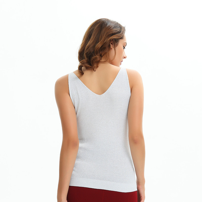 Sequin Knitted Tank Tops Female Sexy V neck Vest Solid Club Tops Women Black Beige T shirt Cotton Polyester Shiny Lurex Tank Top in Camis from Women 39 s Clothing