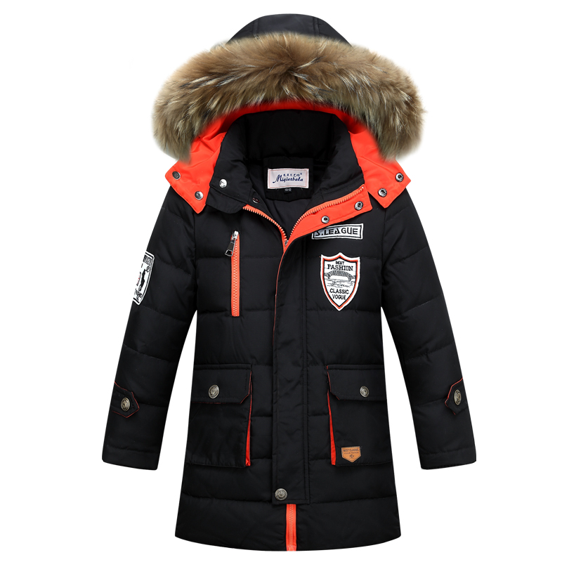 ФОТО 8-16Y Fashion Winter Down Jacket For Boys -25 Degrees Big Fur Hooded Thicken Warmly Kids Winter Parkas Coat Children Outerwear