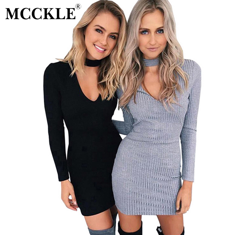MCCKLE Winter Women Knitting Dress Long Sleeve Sexy Short Pencil Knitted Dress Slim Bodycon Party Vestidos
