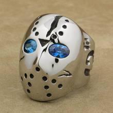 LINSION 316L สแตนเลสฮาโลวีน Jason หน้ากากฮอกกี้สีฟ้า CZ Eyes Mens Biker Rocker Punk แหวน Cubic Zirconia แหวน 3F101