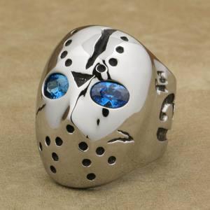 Image 1 - LINSION 316L Stainless Steel Halloween Jason Mask Hockey Blue CZ Eyes Mens Biker Rocker Punk Ring Cubic Zirconia Ring 3F101
