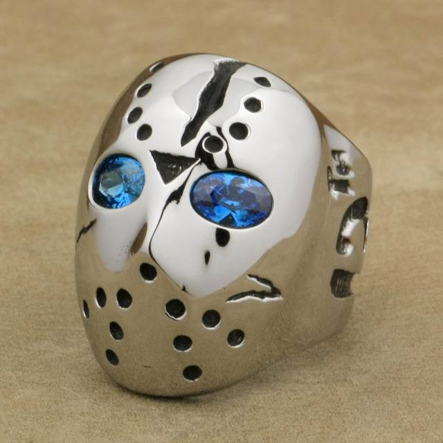 LINSION 316L Stainless Steel Halloween Jason Mask Hockey Blue CZ Eyes Mens Biker Rocker Punk Ring Cubic Zirconia Ring 3F101