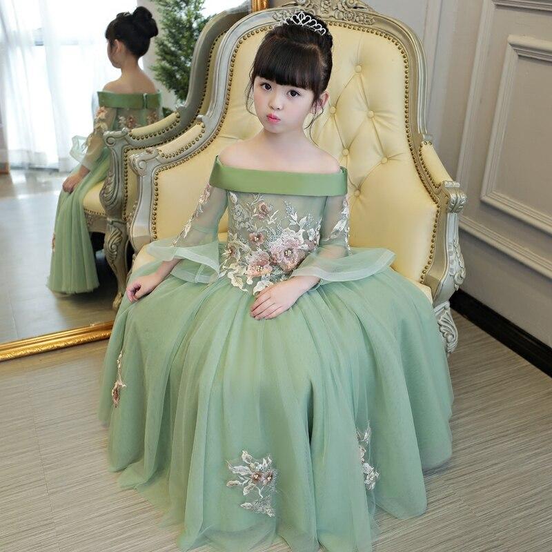 Armée vert robe pour fille vintage anniversaire enfant hors épaule soirée princesse fleur broderie fée belle étage longueur 2019