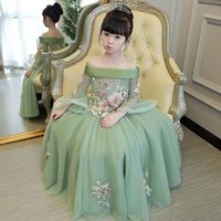 Army green dress for girl vintage birthday kid off shoulder evening princess flower embroidery fairy beautiful floor length 2019