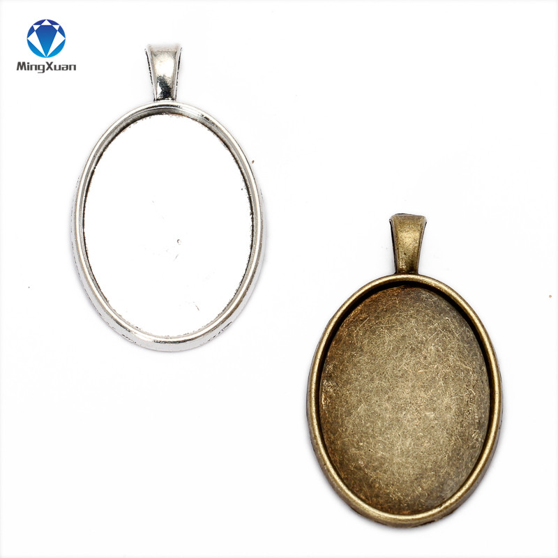 MINGXUAN 10pcs/lot Antique Bronze Metal Copper <font><b>18x25mm</b></font> <font><b>Oval</b></font> <font><b>Cabochon</b></font> Settings Jewelry Tray Pendant Bezel Blanks image