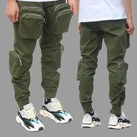 NEW Men Joggers Pants Spring Summer Multiple zipper pockets Mens Big Pockets Ankel Cargo Pants Streetwear Overalls Sweatpants