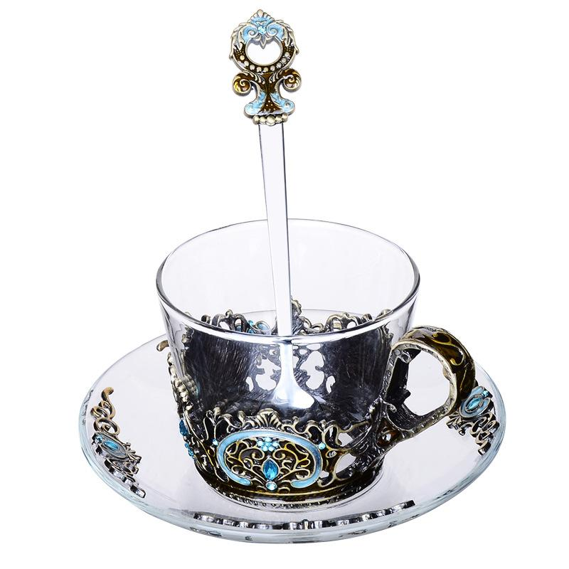 Emaille Transparent Glas Kaffee Tee Becher Blau Rosen Wärme-Beständig Tasse Set mit Edelstahl Löffel Bahn und Wischen tuch