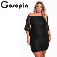 Gosopin Plus Size Black Women Dress Elegant Lace Off Shoulder Autumn Sexy Party Dresses Large Sizes