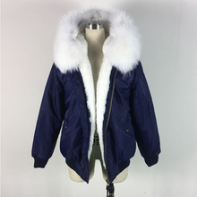 2016 NEW fashion blue bomber jacket white fur inside raccoon fur hood coat winter unisex style zipper outwear