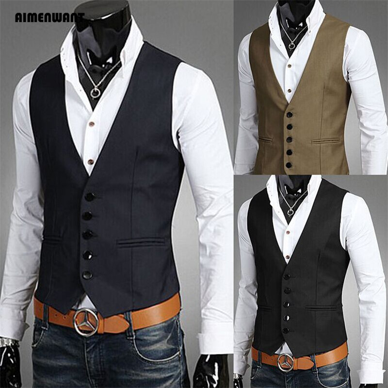 AIMENWANT Brand 2018 Vest Gilet Colete Chaleco Hombre Sin Mangas Sleeveless Male Waistcoats Gentleman Single Breasted Suit Vests