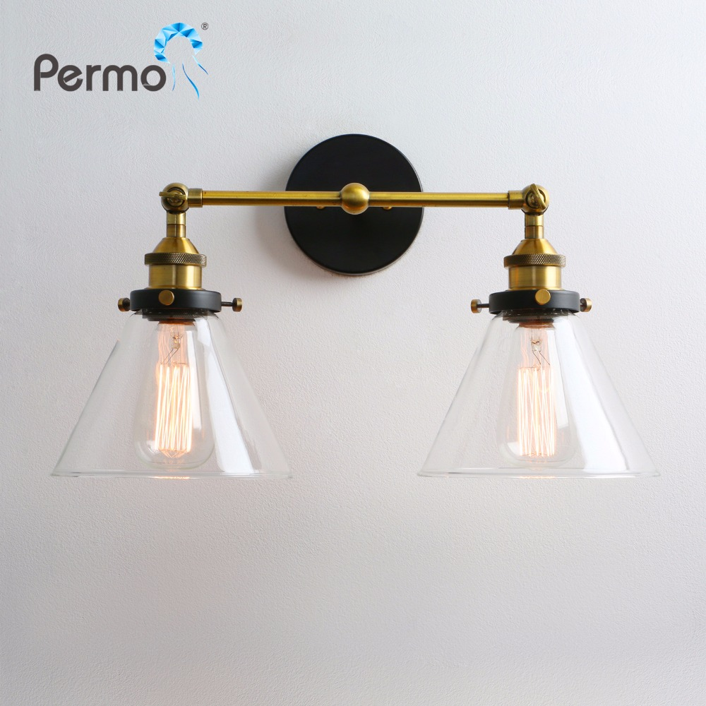 Modern 6.3'' Funnel Glass Loft Metal Double Heads Wall Light Retro Brass Wall Lamp Country Style E27 Edison Sconce Lamp Fixtures