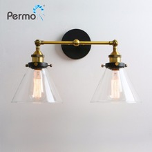 Modern 6.3'' Funnel Glass Loft Metal Double Heads Wall Light Retro Brass Wall Lamp Country Style E27 Edison Sconce Lamp Fixtures new arrive decoration wall lamp e27 country small black metal wall lamp vintage industrial wall lights edison lighting fixtures