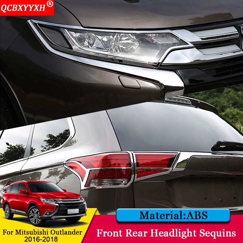QCBXYYXH Car styling ABS Car Front Rear Headlight Sequins Cover Auto Decoration Accessories For Mitsubishi Outlander