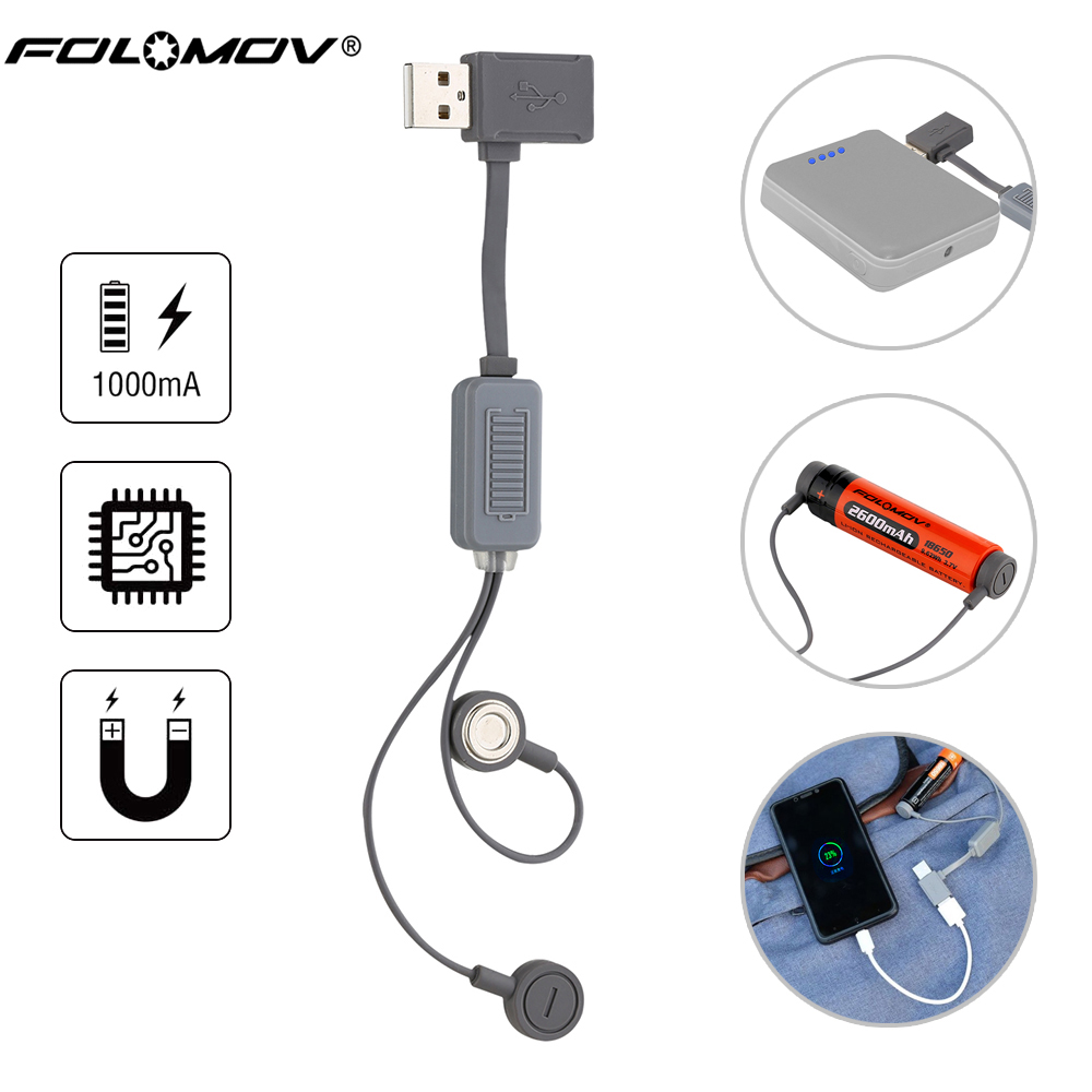 Folomov A1 18650 Battery Charger for Li-ion Batteries Multifunction Magnetic USB Charger Mini Charging/Discharging Power Bank