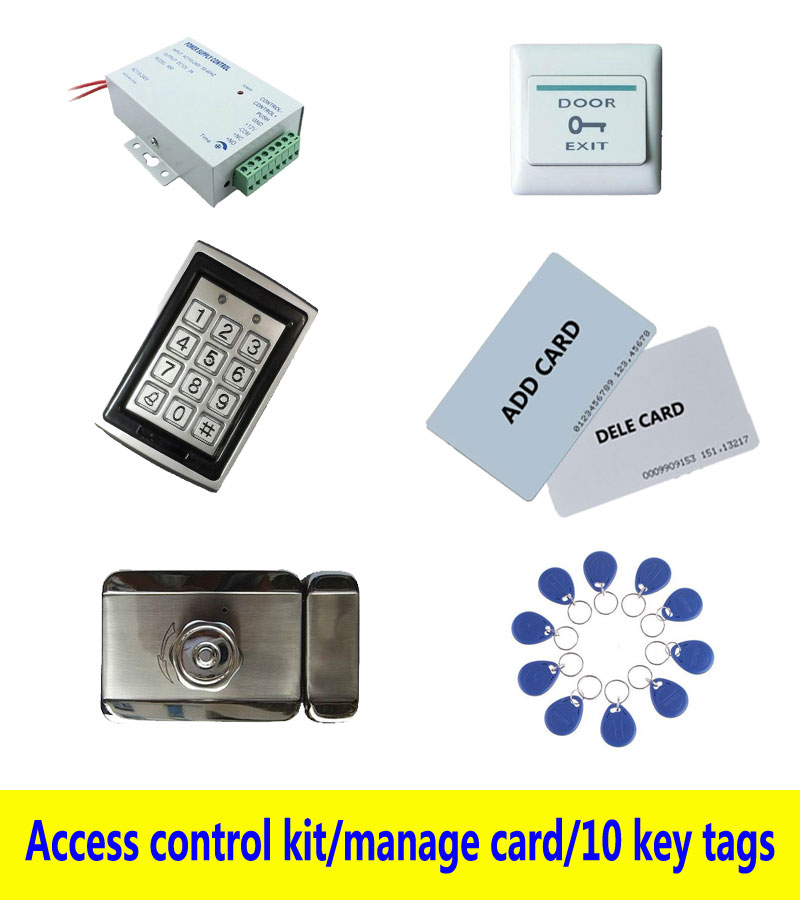 access control kit,metal shell access control +power+inteligent mute lock+ exit button+2 manage card,10 keyfob ID tag,sn:Tset-9 free ship by dhl access control kit waterproof access control switch power electric mute lock exit button 10 em cards sn em t10