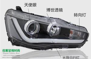 Image 5 - Car Styling Head Lamp for Lancer Headlights Lancer EX Headlight 2008~2015year taillight DRL H7 D2H Hid Angel Eye Bi Xenon Beam