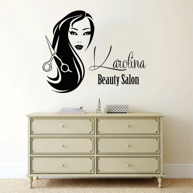 custom logo hair salon wall decal personalized name wall sticker