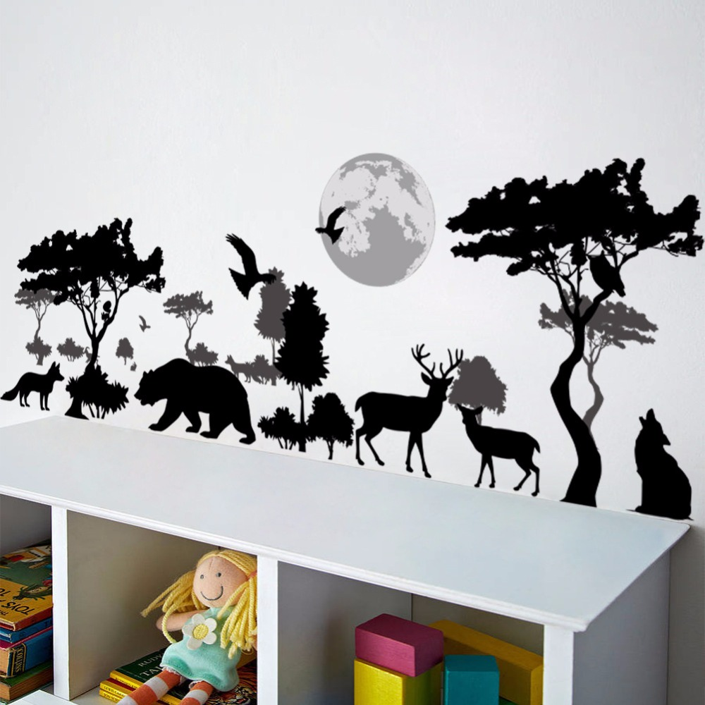 % 3D Cartoon Animal Deer Bird Wolf Forest Zoo Tree Flowers Wall Stickers Home Decor For Bedroom Living Room Kids Room Art Poster