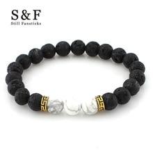 8mm Lava Stone Beads font b Bracelet b font Men Strand font b Bracelets b font