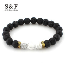 8mm Lava Stone Beads Bracelet Men Strand Bracelets For Women Handmade 2017 Men Jewelry Charm Cuff Wristband Adjustable Bileklik