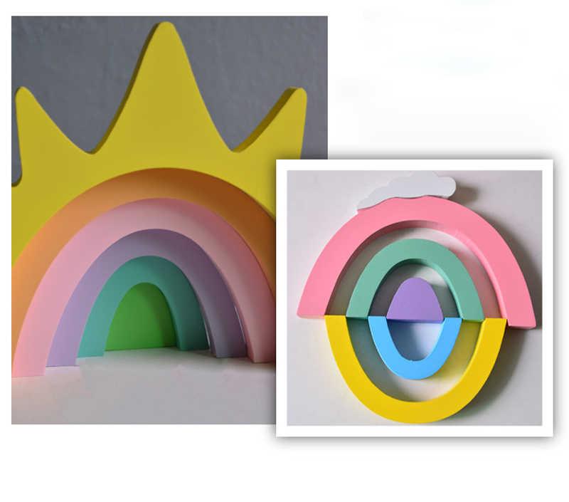 DIY Brinquedos de Montagem de Madeira Rainbow Children Educational Building Blocks Para Crianças Beedroom Decoração prato de Frutas de Madeira kit Modelo de Cor