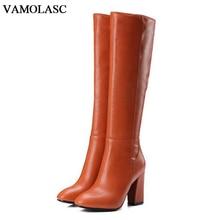VAMOLASC New Women Autumn Winter Warm Leather Knee High Boots Zipper Square High Heel Boots Platform