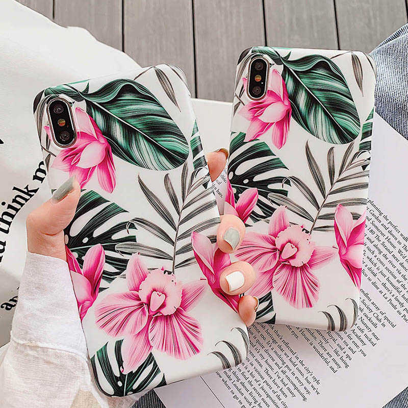 Flower Leaves  Print Phone Case For iPhone 6 6S Plus XR XS Max Soft Silicone Covers Summer Plants Cases For iPhone X 7 8 Plus