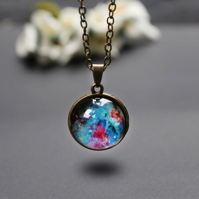 Romantic Starry Sky Pendant Valentine's Day Universe Necklace Gifts Double-sided Transparent Glass Ball Pendant Birthday Gifts 3