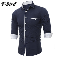 T Bird Brand 2017 Mens Casual Long Sleeve Shirt Men Solid Shirts Male Turn Down Collar