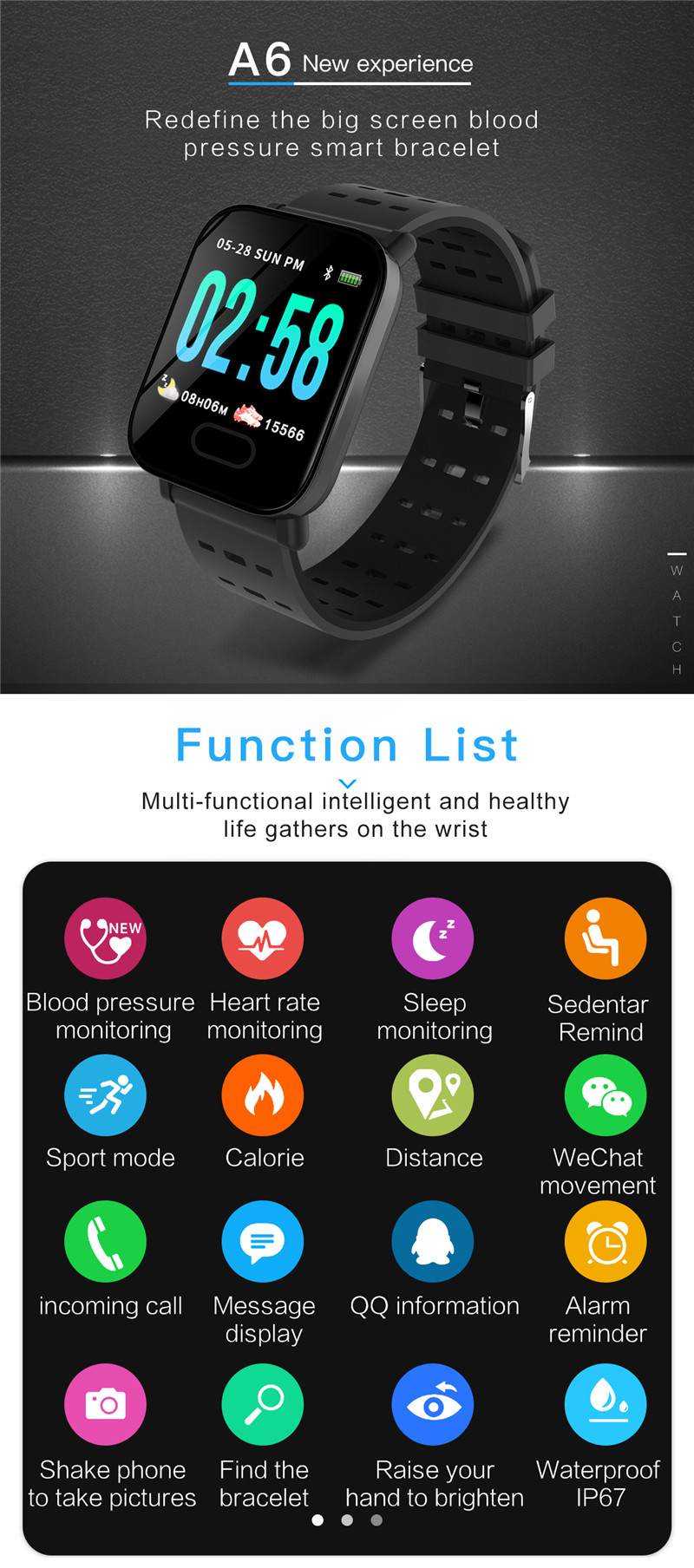mafam A6 Smart Watch Heart Rate Monitor Sport Fitness Tracker Sleep Monitor blood pressure Waterproof Sport Watch Band for IOS Android (1)