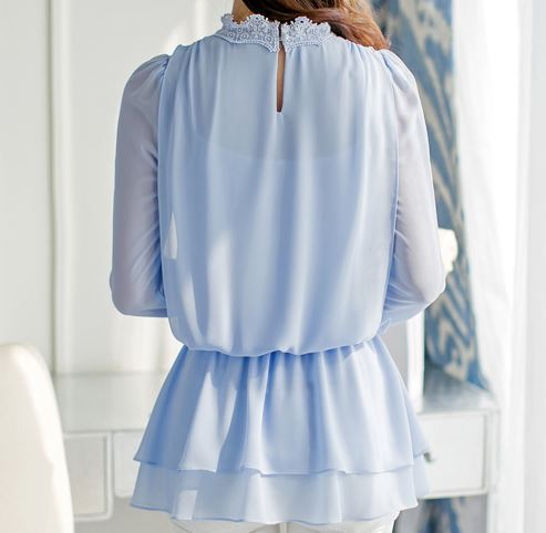 Beautiful Womens Sexy Layered Ruffle One Shoulder Stripes Blouse Light Blue - PINK QUEEN