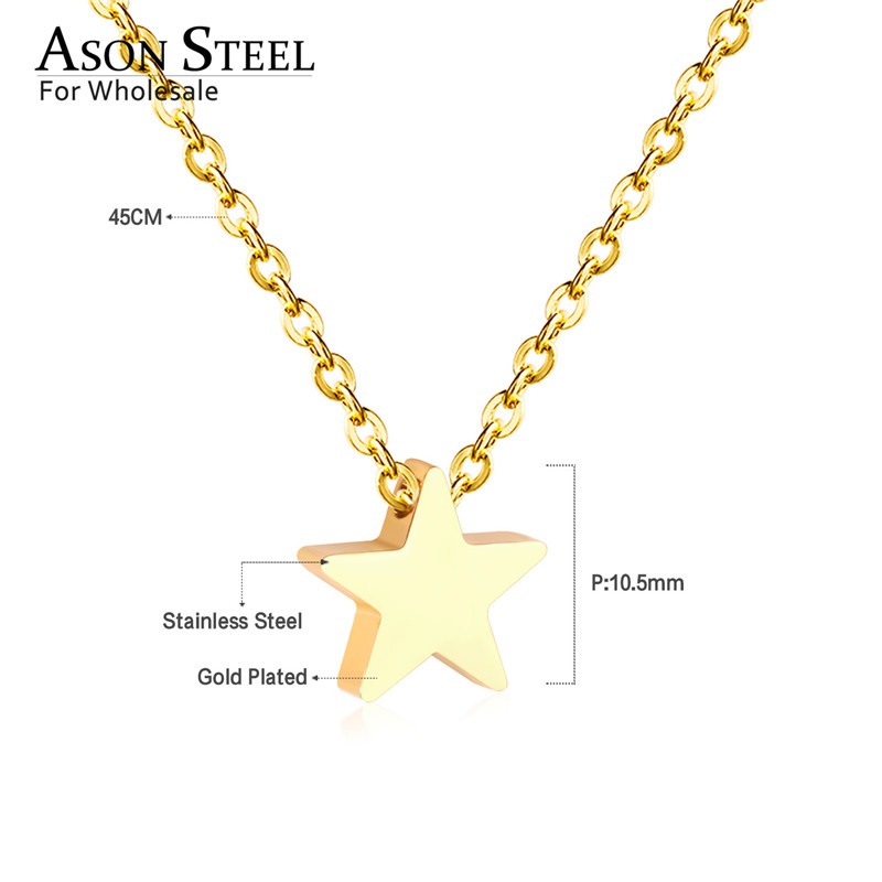 45cm Top 316L Stainless Steel Heart Moon Star CrossPendant Long Link Chains Necklaces Set Gold For Women Choker Necklace Jewelry 15
