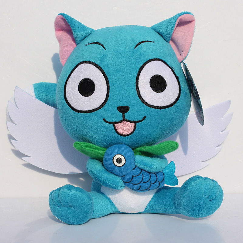 30cm Anime Fairy Tail Happy Plush Figure Toy Stuffed Soft Doll With Fish Great Gift 30cm stuffed