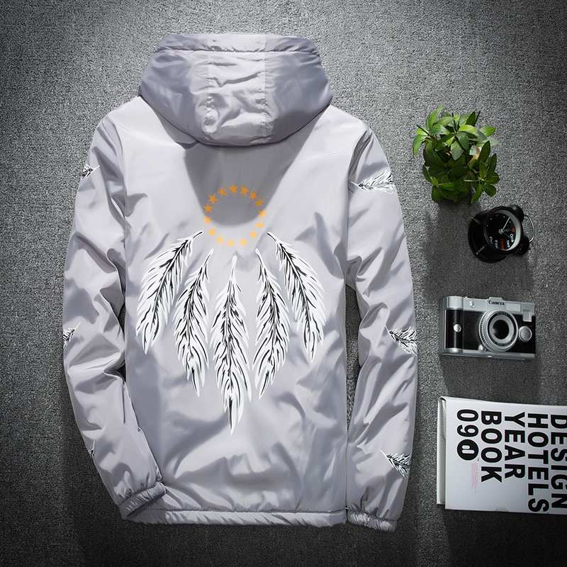 2018 New Hooded Jacket Men Casual Gray Feather Print Coat US SIZE