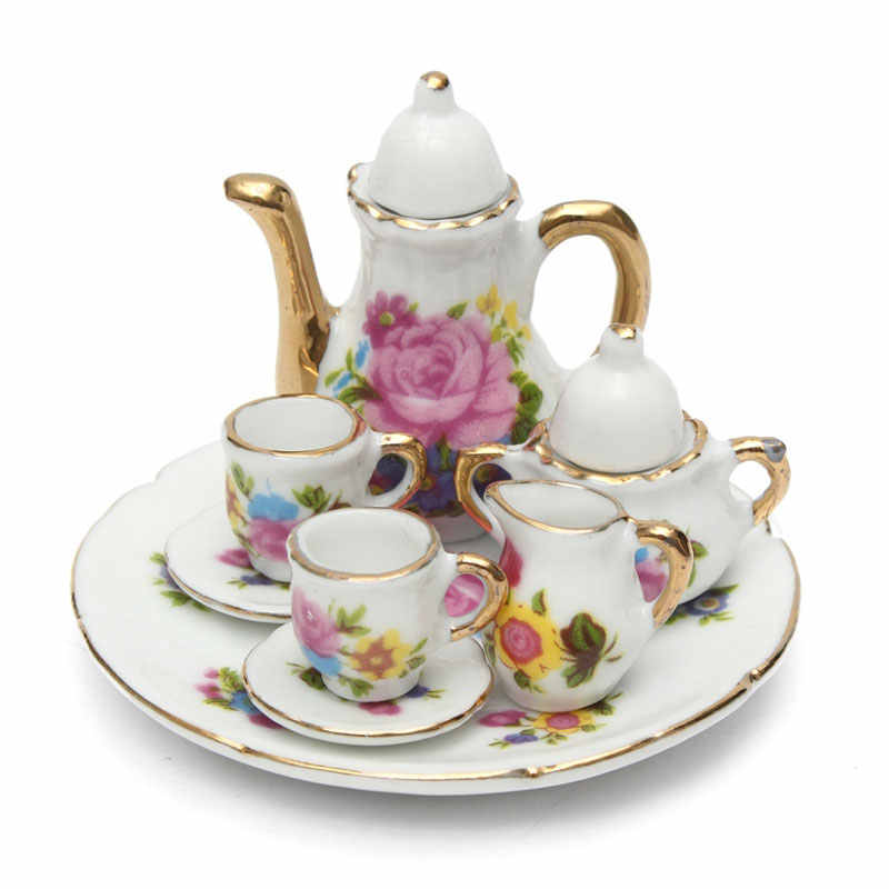 8pcs Dollhouse Miniature Restaurants Goods Porcelain Tea Set Plate Cup Plate Flower Print Dollhouse Accessories Toys
