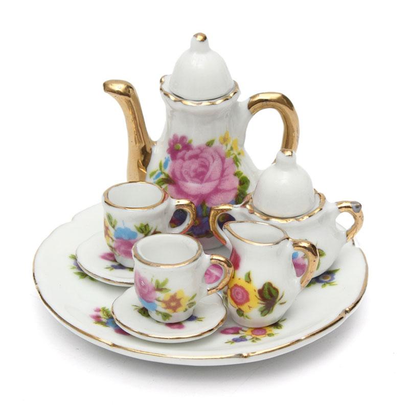 8pcs Dollhouse Miniature Restaurants Goods Porcelain Tea Set Plate Cup Plate Flower Print Dollhouse Accessories Toys