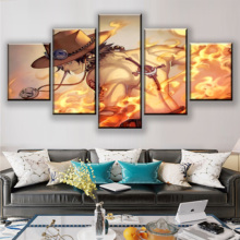 Home Decor One Set Framework Or Unframed 5 Panel Anime Piece Portgas D. Ace Poster Modern Wall Art Canvas Print Painting