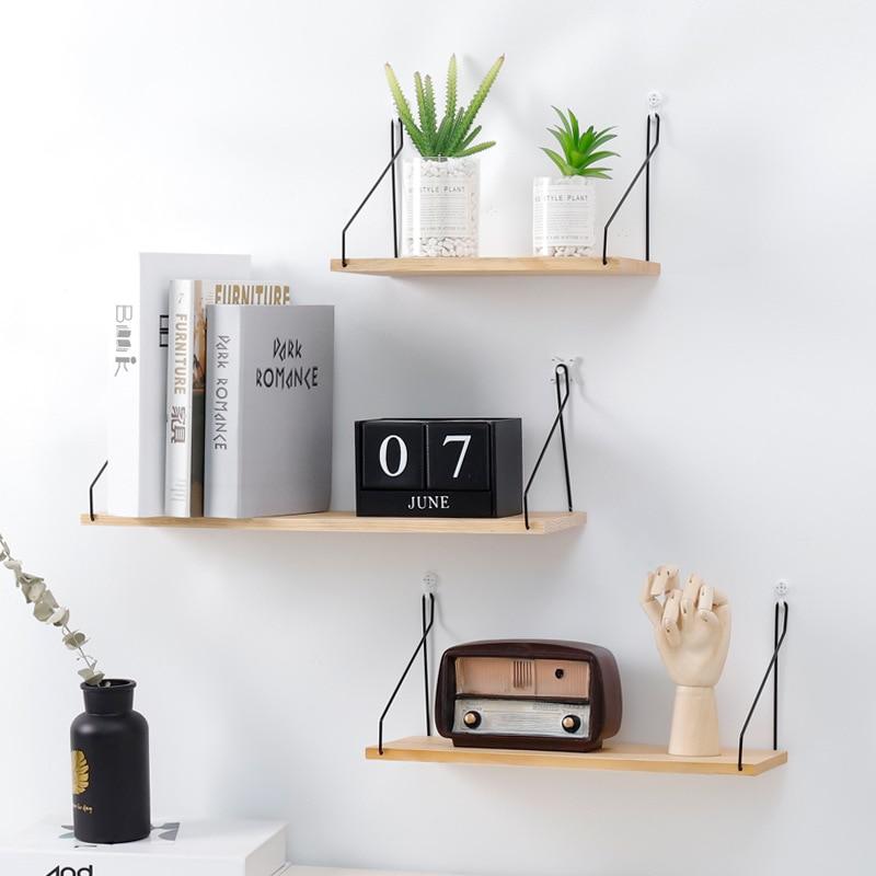 3 Size Simple Wall Shelf Wood Iron Hanging Holder Storage Mount Sundries Rack Storage Rack Wall Shelf Home Decor