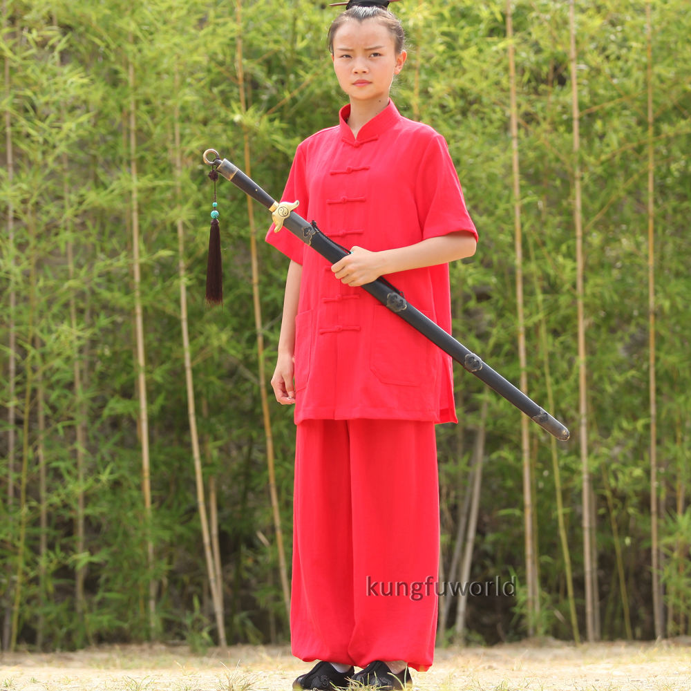 24 Farben Wudang Taoist Frauen Kurzarm Sommer Tai Chi Uniformen - Sportbekleidung und Accessoires - Foto 1
