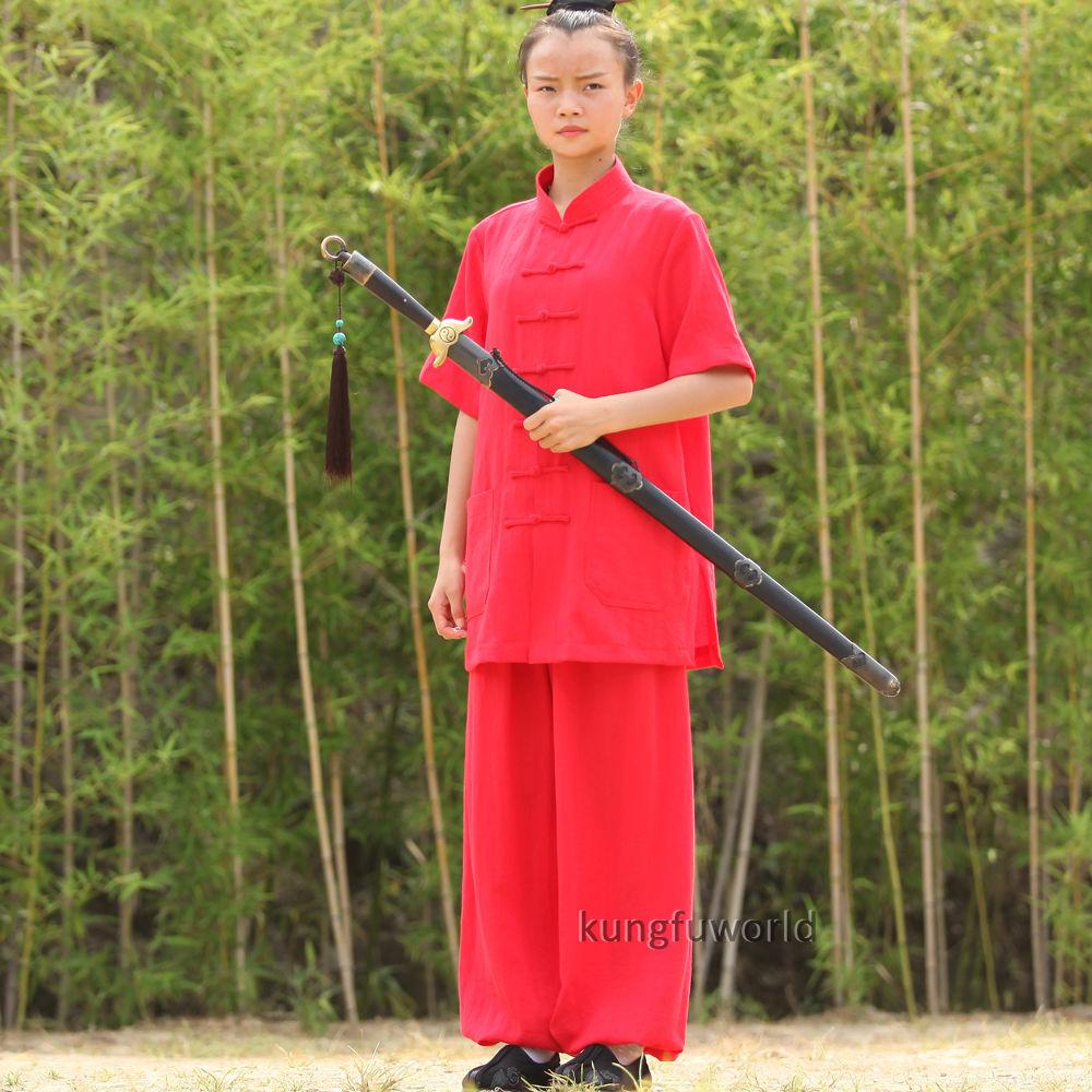 24 Colors Wudang Taoist Women's Shortsleeves Summer Tai Chi Uniforms Martial Arts Kung Fu Training Suit Wushu Wing Chun Clothes