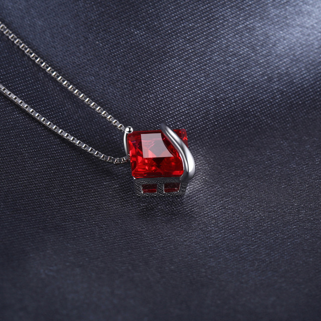 Classic Square Red Ruby Pendant