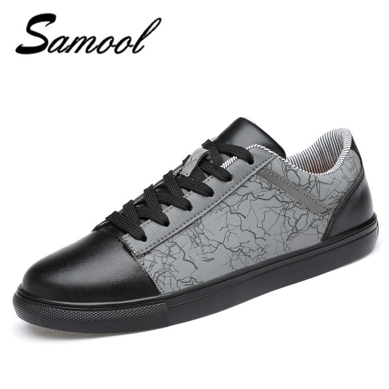 2018 forår mænd sko luksus mærke læder afslappet blonder op sko - Mænds sko