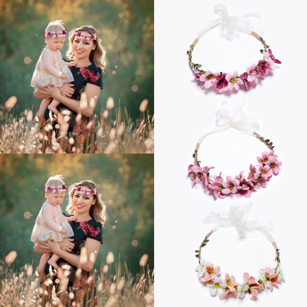 Crown Headband Flower Wedding Floral Hair Accessory Hairband Wreath Mommy /& Kids
