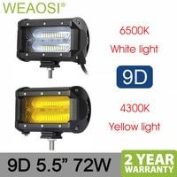 5.5 72w LED work light flood beam car Driving lights for Off Road truck 4WD 4x4 UAZ motorcycle ramp 12V 24V auto fog lamp 9D